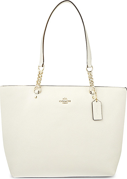 87210aa408 Lyst - COACH Sophia Leather Tote in White