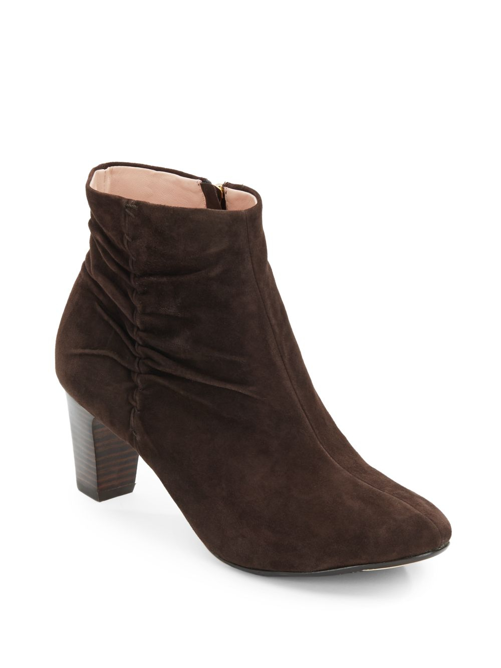 dinah ruched suede ankle boots in brown lyst
