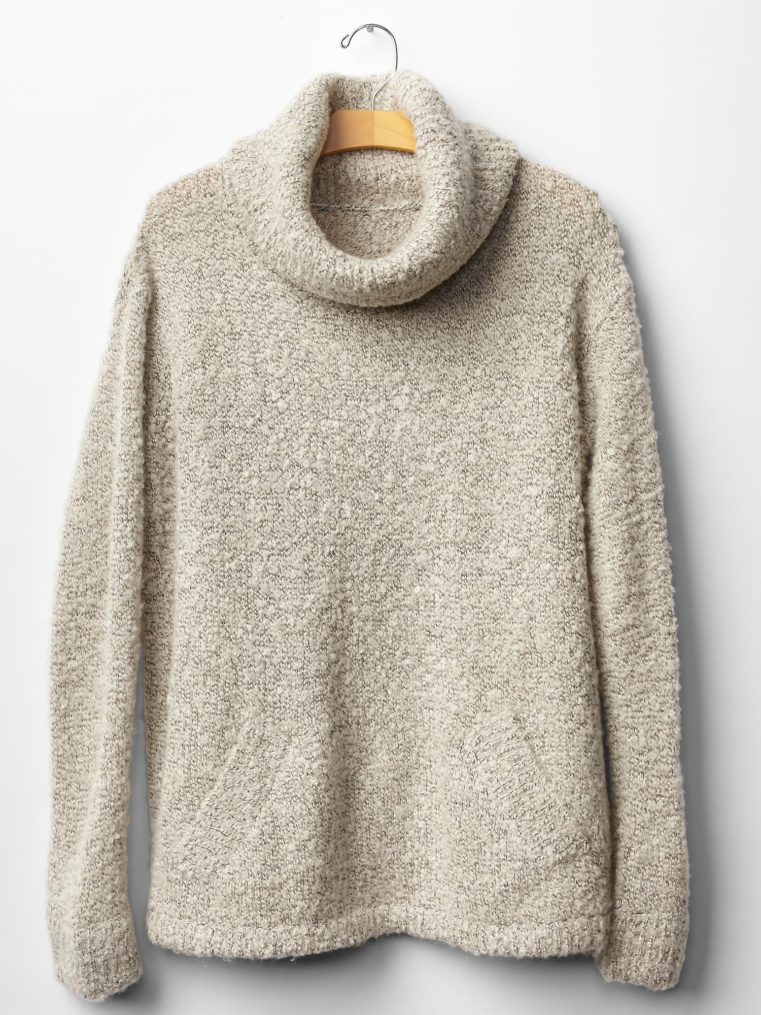 Gap Boucle Turtleneck Sweater In Oatmeal Heather Natural