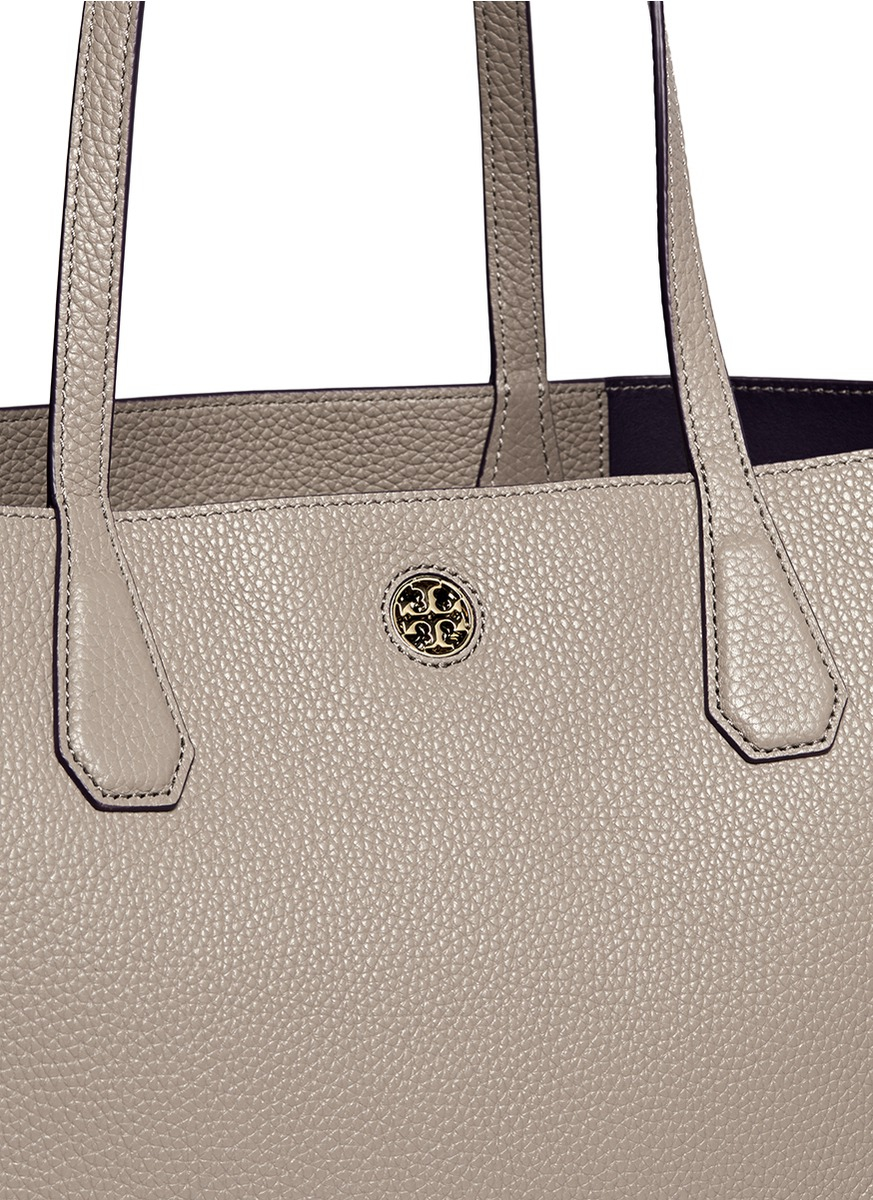 ca43206e5 ... coupon code for lyst tory burch perry pebbled leather tote in gray  98314 694fa