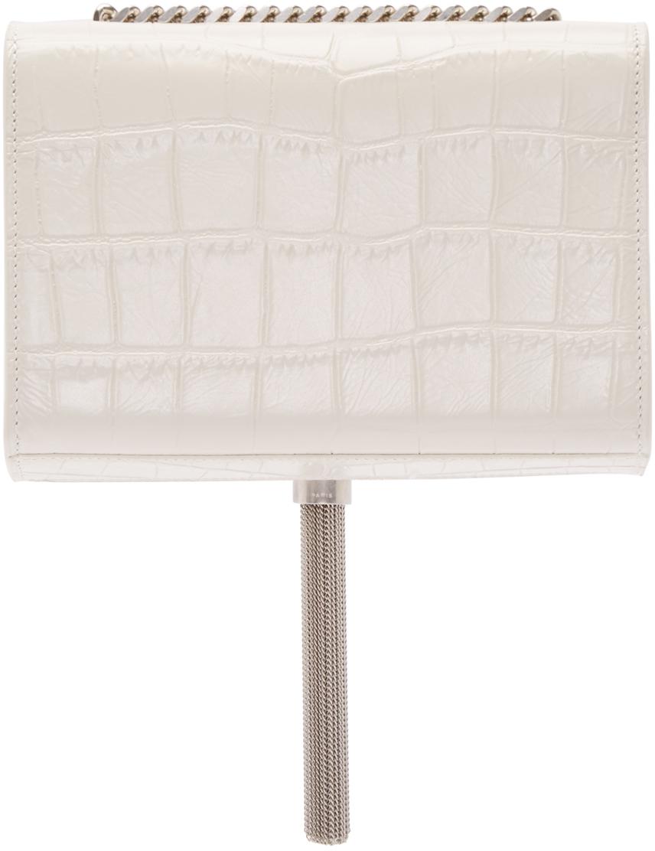 343a5c2c5e0 Saint Laurent White Croc-embossed Small Monogram Tassel Bag in White ...