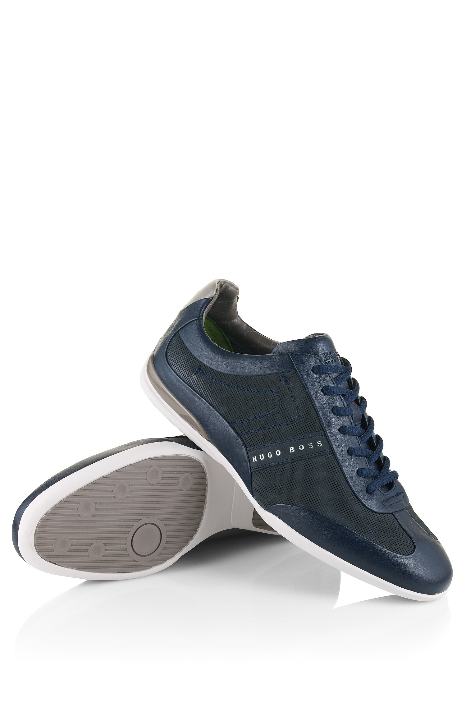 32325811683 Lyst - BOSS Green Leather-mix Trainers   space Select  in Blue for Men