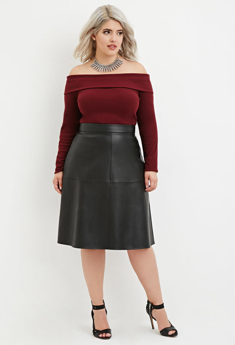 b7bbc8565c5 Lyst - Forever 21 Plus Size Faux Leather Midi Skirt in Black