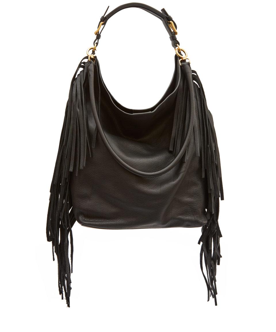 Marni Large Black Fringe Leather Hobo Bag in Black | Lyst