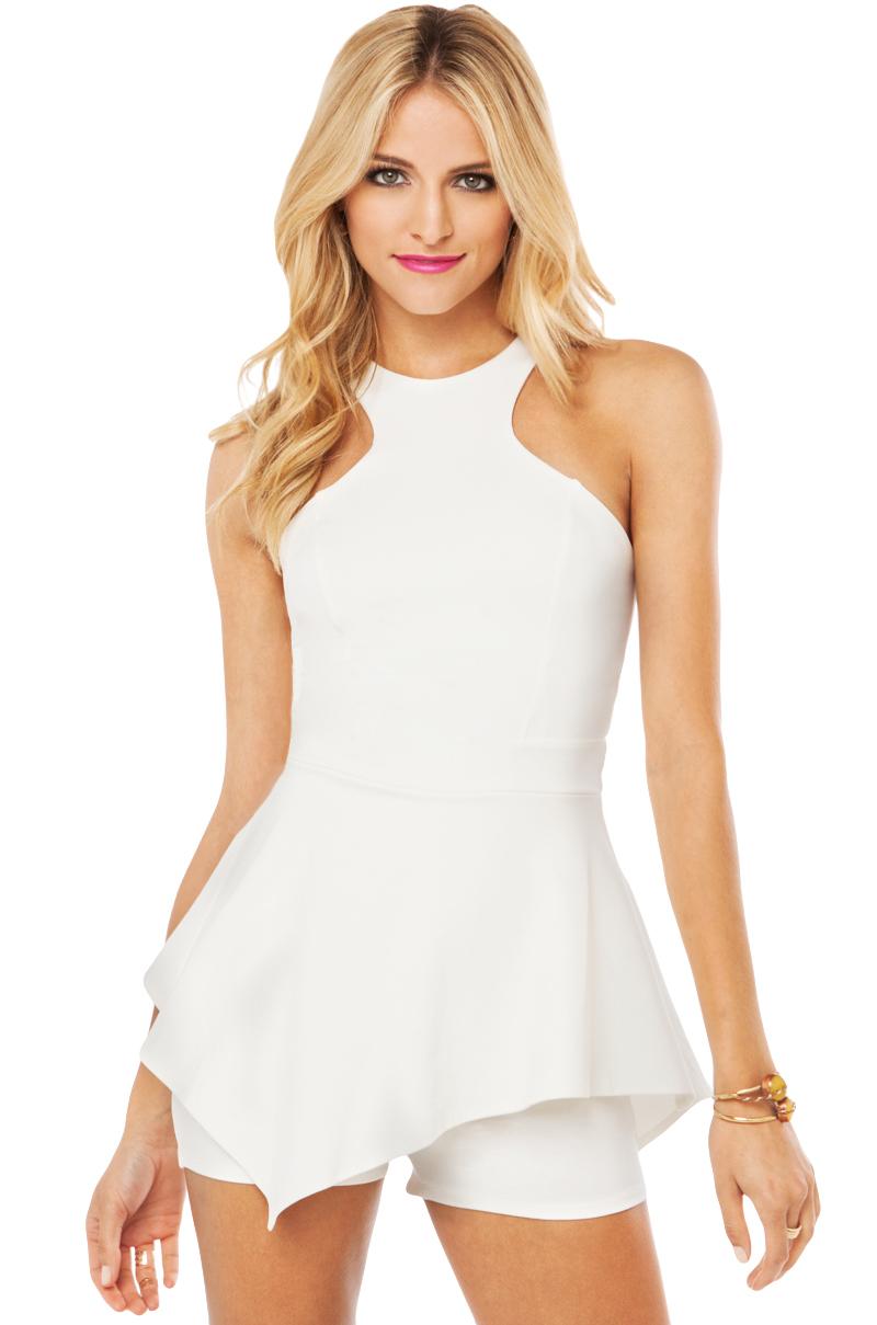 3eff76785425 Lyst - AKIRA Peplum Romper in Ivory in White