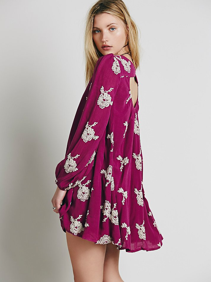 Lyst Free People Embroidered Austin Dress In Purple
