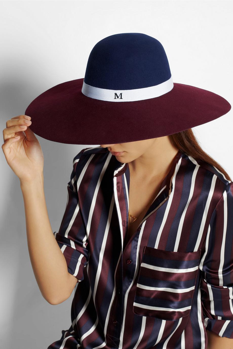 Maison michel blanche widebrim rabbitfelt hat in red lyst for Maison michel