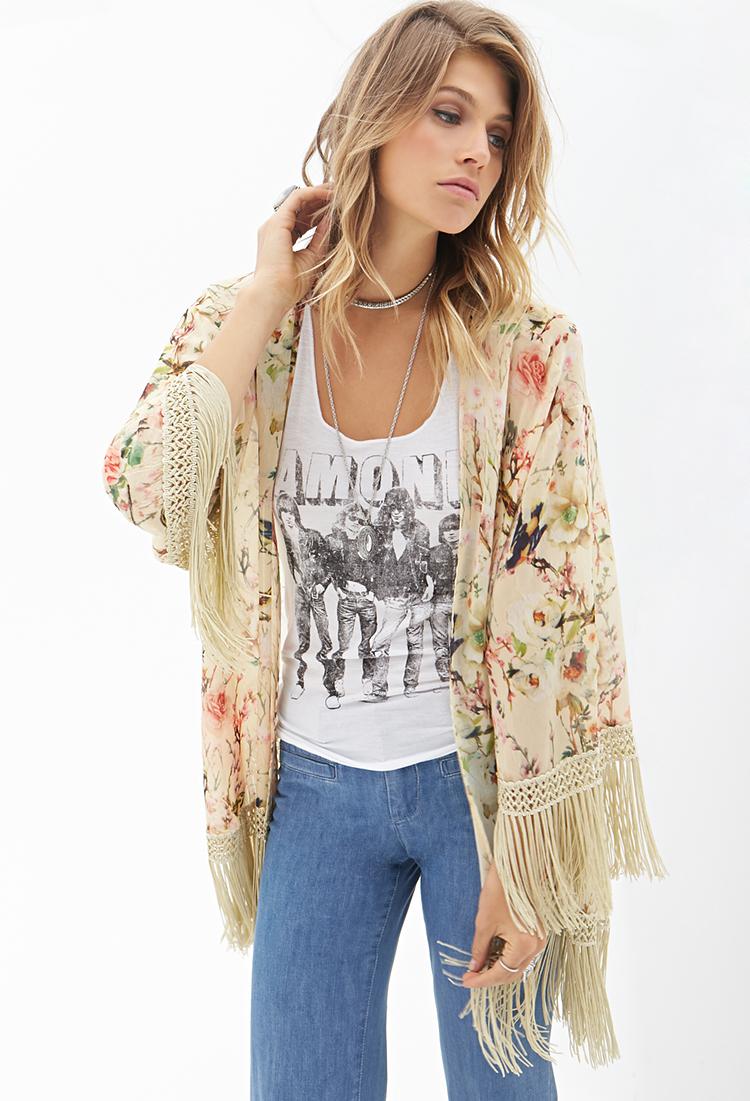 Forever 21 Floral Fringe Kimono | Lyst
