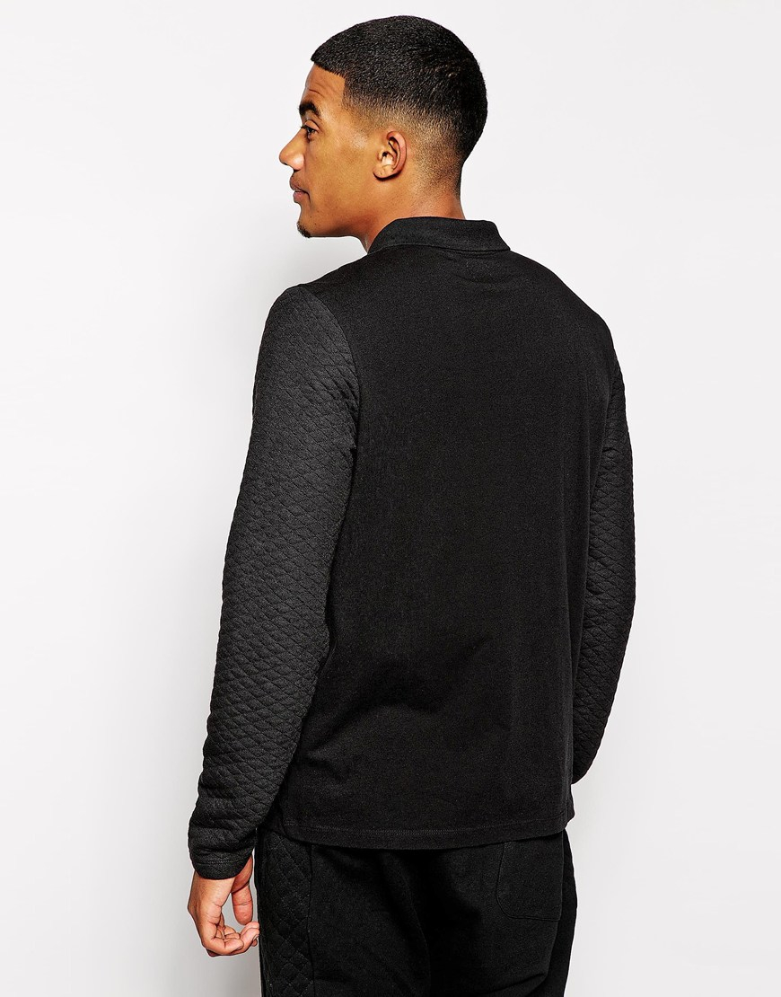 Asos Long Sleeve Polo Shirt With Quilted Sleeves In Black
