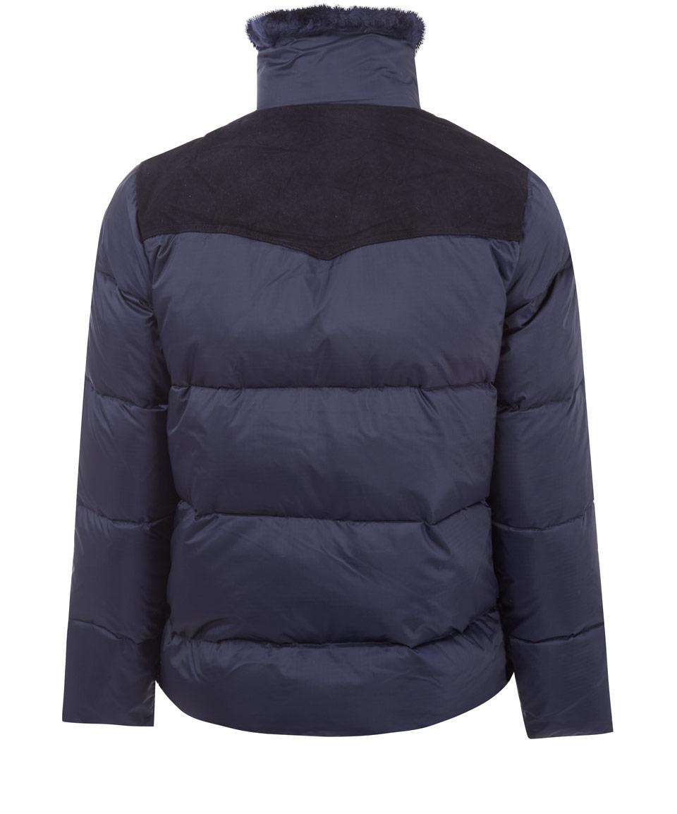 Penfield Navy Rockwool Suede Yoke Down Jacket in Blue for Men