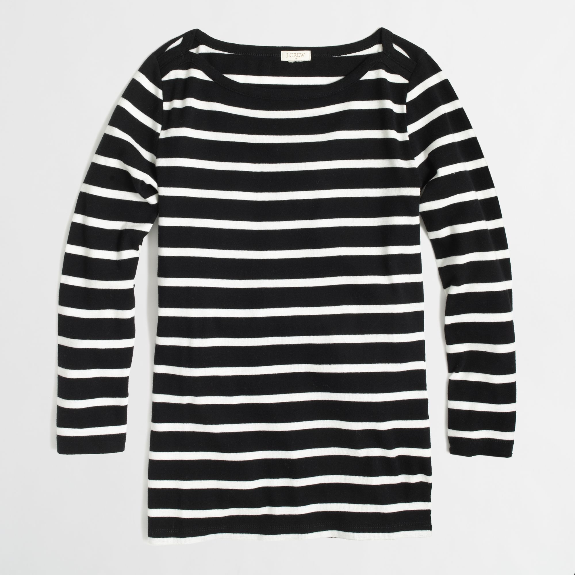 Jcrew perfect fit boat neck striped tee. Cute black and white J. Crew top. The sleeves make the top unique. $ XXXS / 00 4. J Crew. Girls Pink and white striped long sleeve shirt with flower detail on the chest. Cotton and polyester. Comfy. Only worn once. #crewcuts #j.