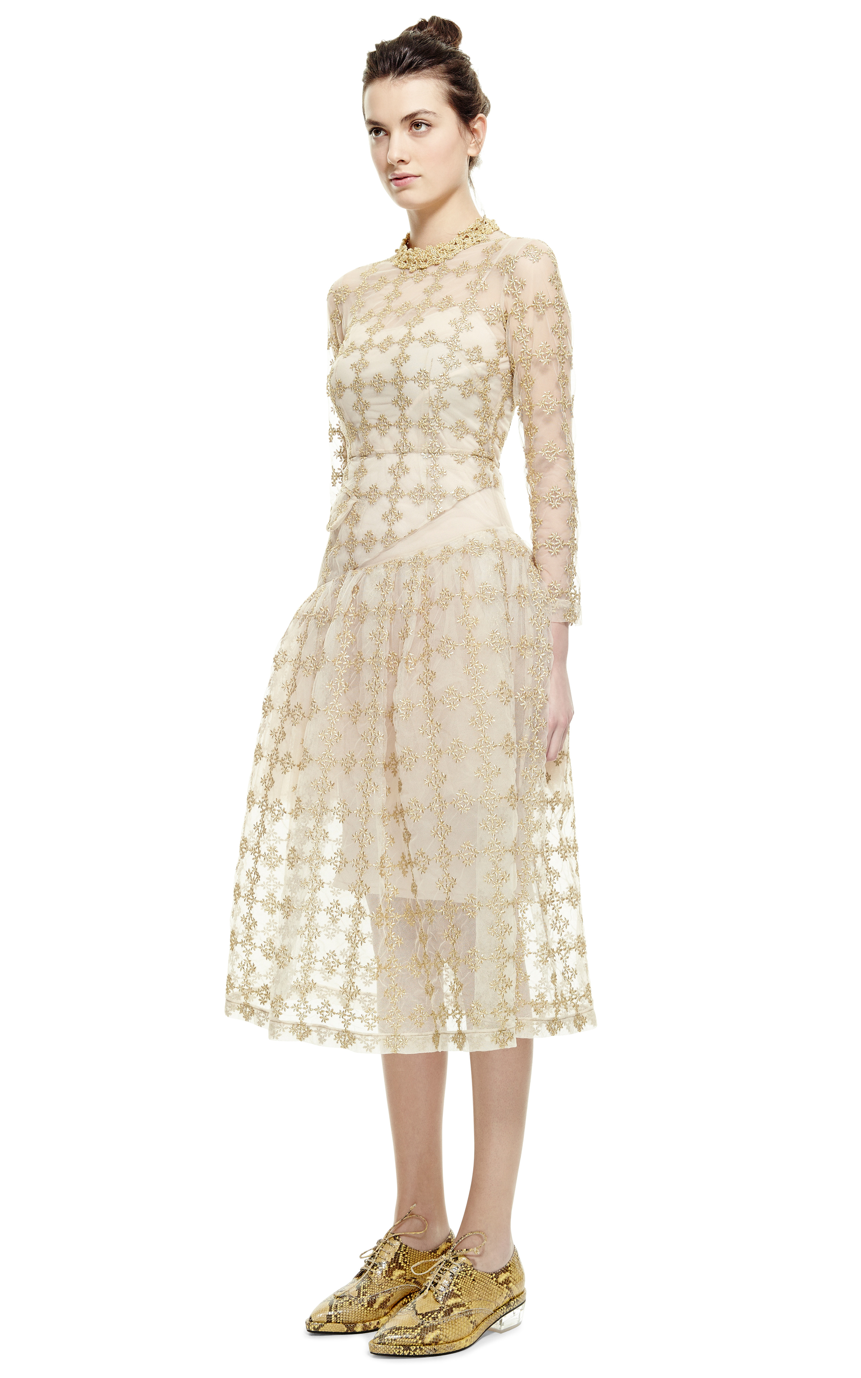 Simone Rocha Gold Floral Check Long Sleeve Dress In