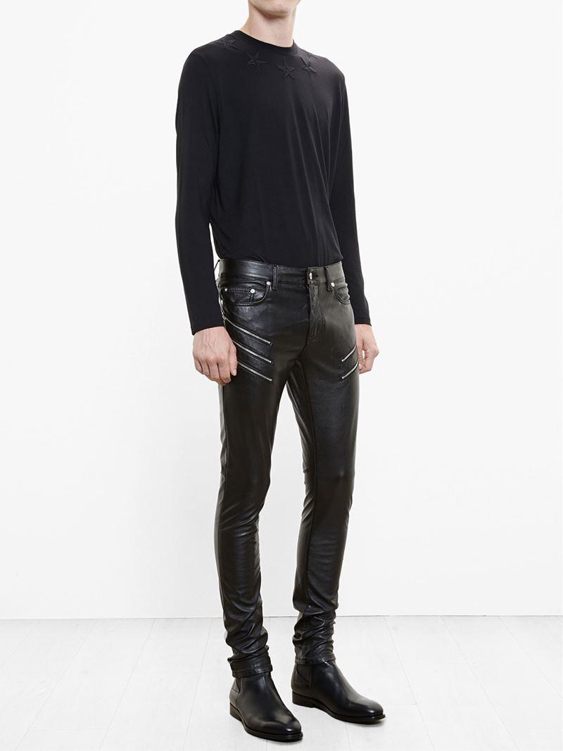 69041ea9426 Saint Laurent Zipped Faux Leather Trousers in Black for Men - Lyst