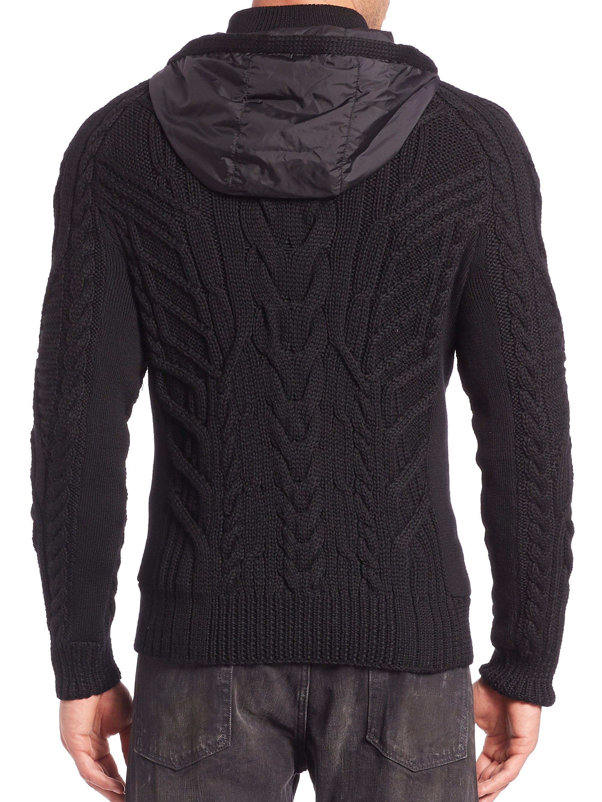 Ralph lauren black label Merino Cable-knit Hooded Pullover in ...