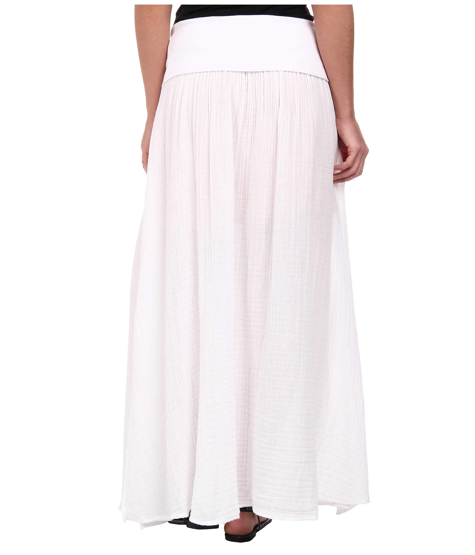 three dots maxi skirt w side slit in white lyst