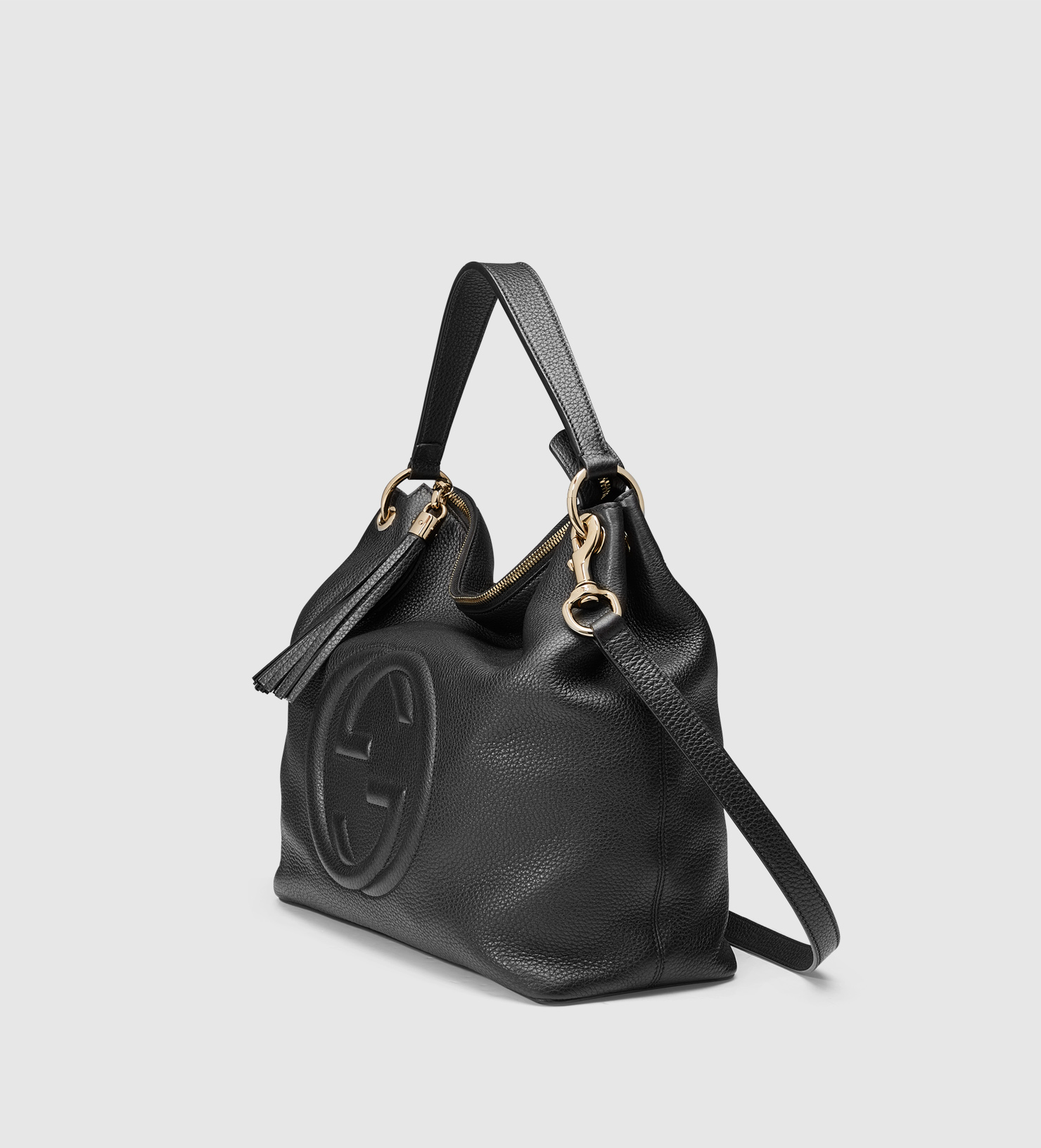 642f9191555e Lyst - Gucci Soho Leather Hobo in Black