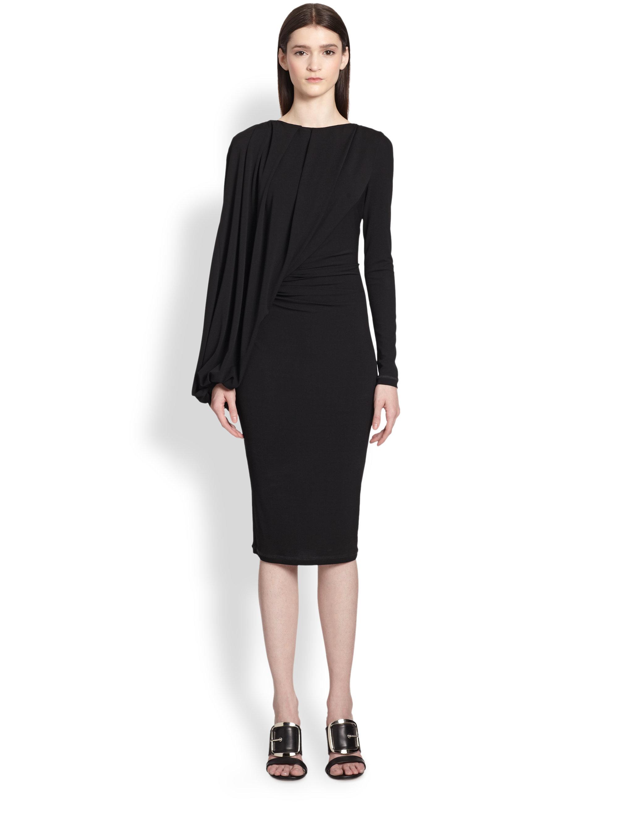 Givenchy Jersey Balloon-Drape Dress in Black | Lyst Victoria Beckham Dresses