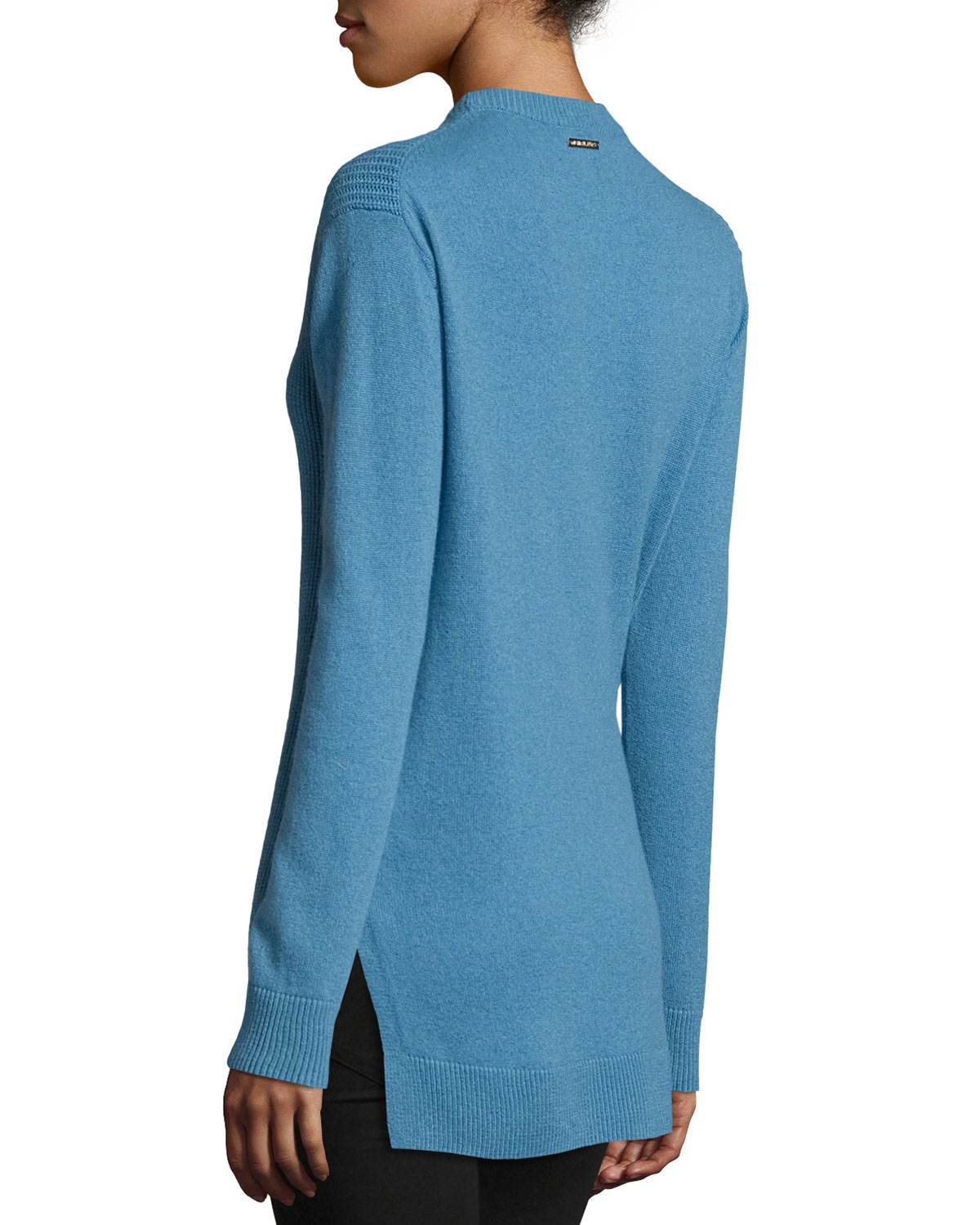 Michael michael kors Long-sleeve Shaker-knit Cashmere Sweater in ...