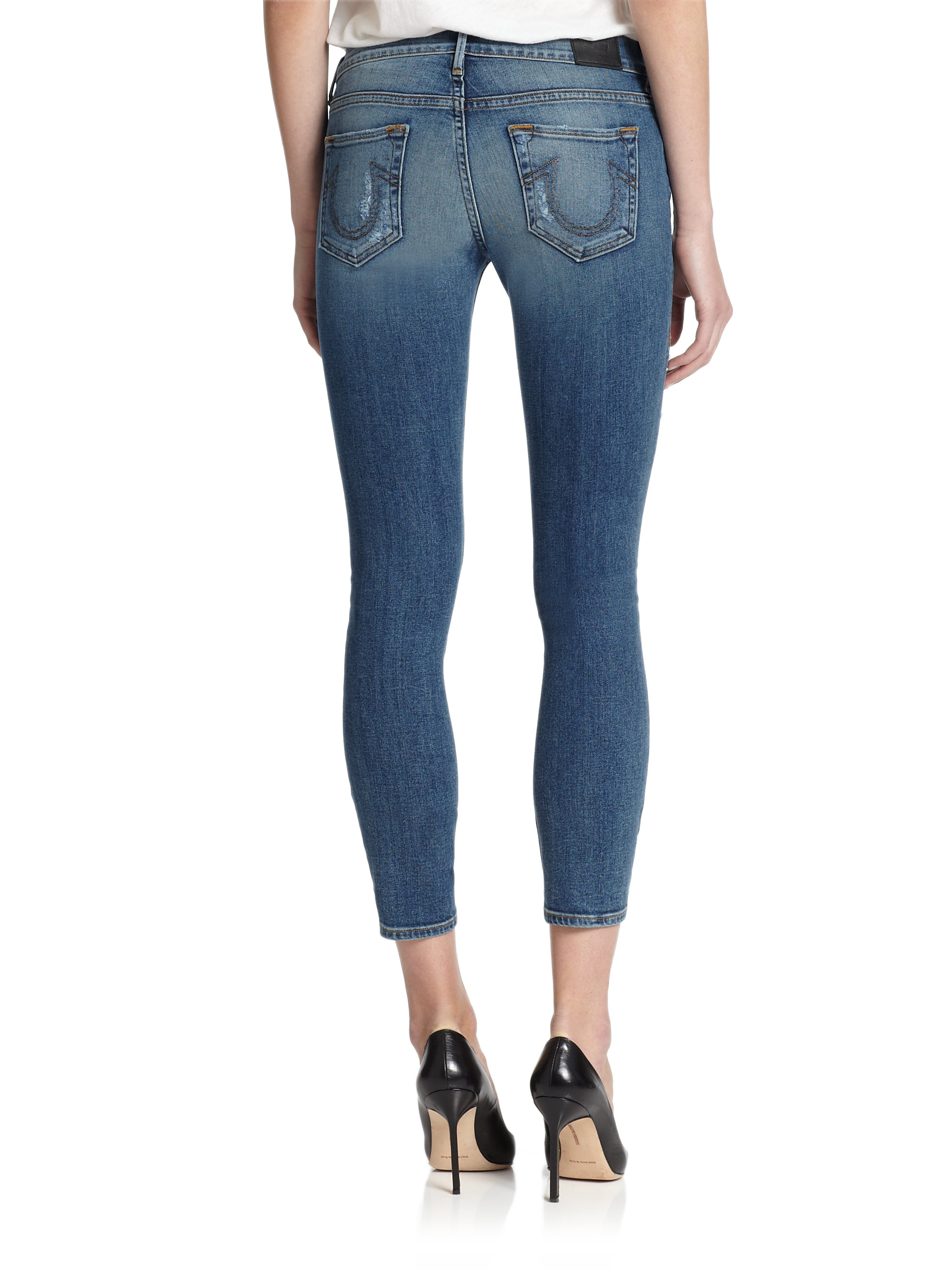 f4abe4e67 Lyst - True Religion Cora Destroyed Cropped Skinny Jeans in Blue