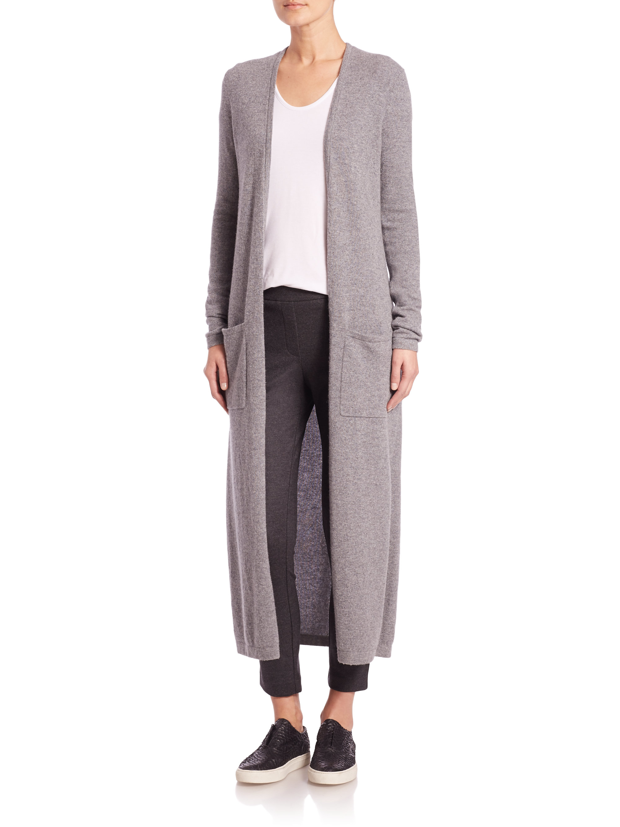 Theory Torina Long Cashmere Duster Cardigan in Gray | Lyst