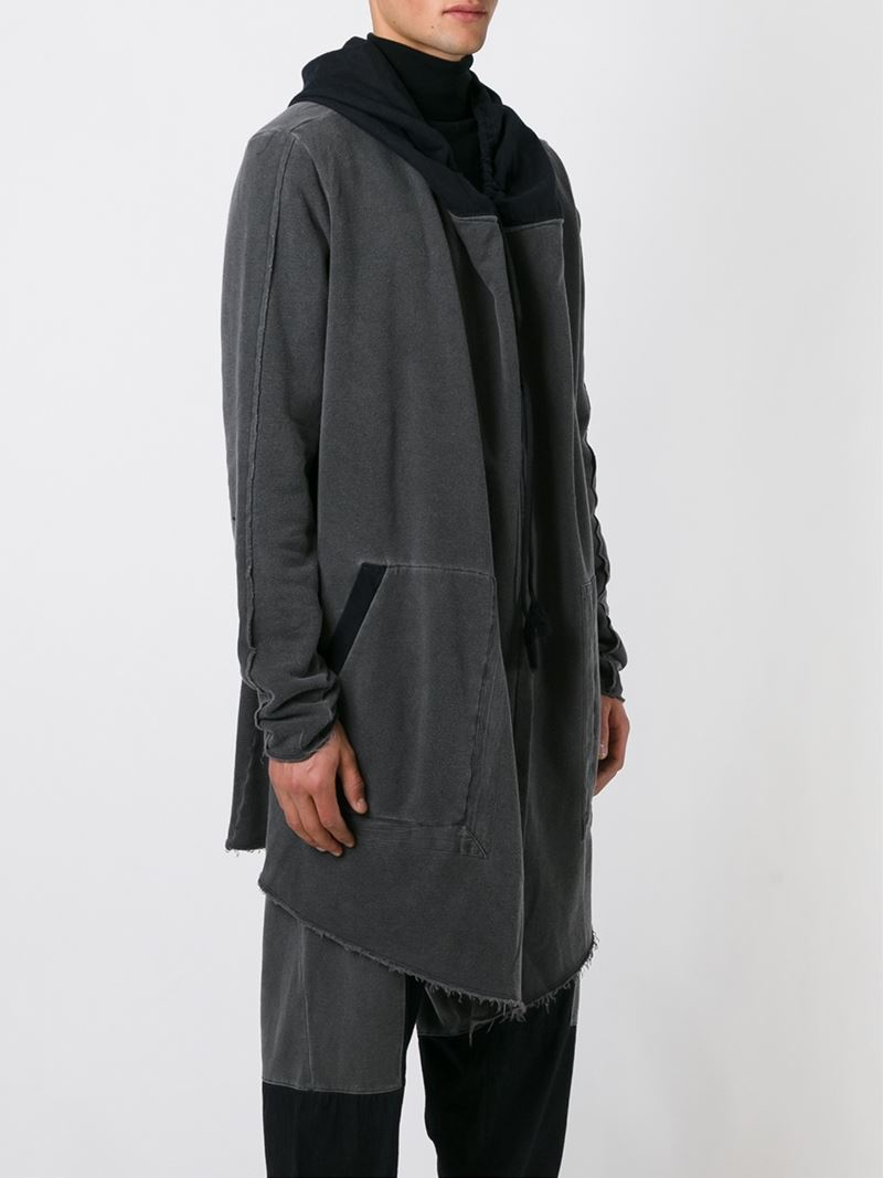 Lost and Found Rooms Draped Open Front Hooded Jacket in Grey (Black) for Men