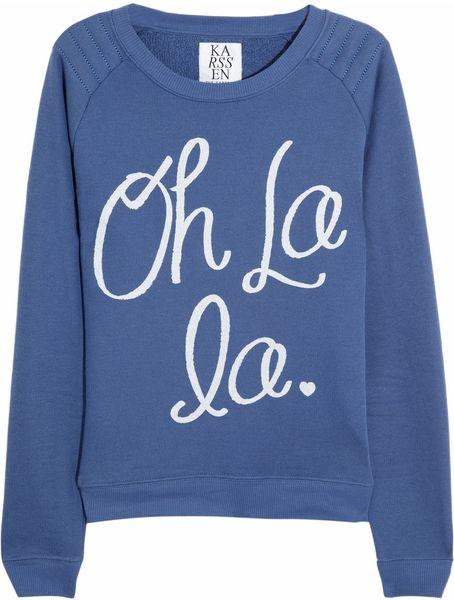 Zoe Karssen Oh La La Cottonblend Jersey Sweatshirt in Blue
