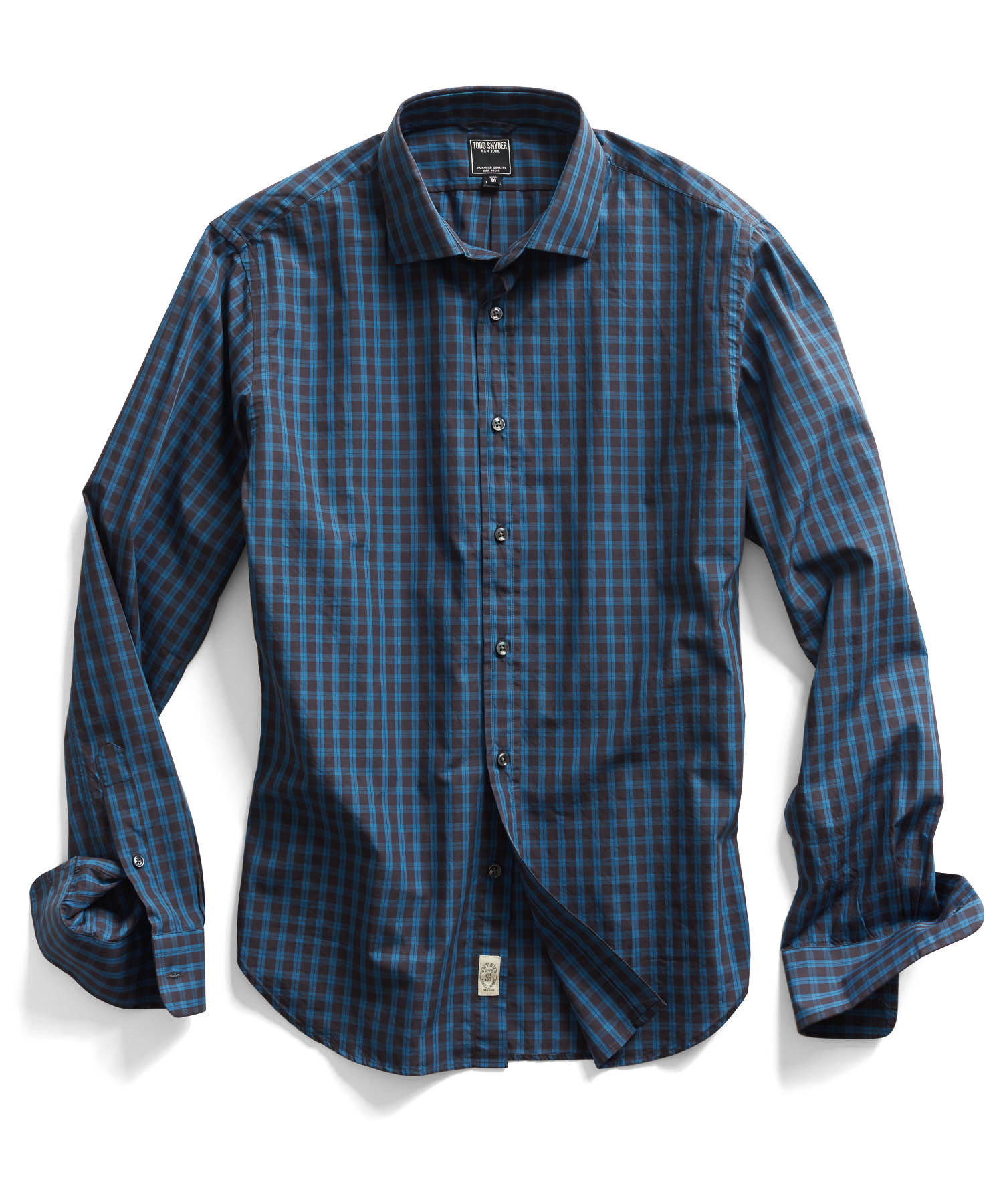 Todd snyder spread collar dress shirt in blue check in for Blue check dress shirt