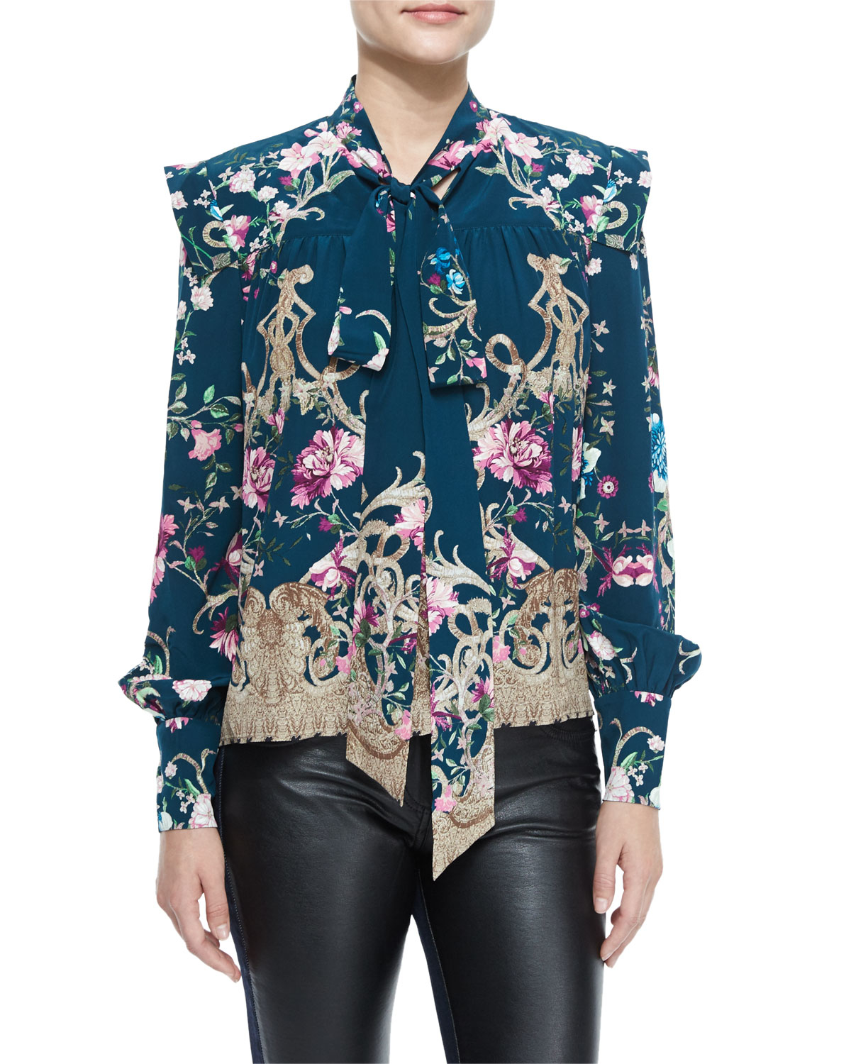 Ruffled floral-printed silk blouse Roberto Cavalli Cheap Sale Brand New Unisex Cheap 2018 Unisex Sale Prices Authentic Online Mlp7P