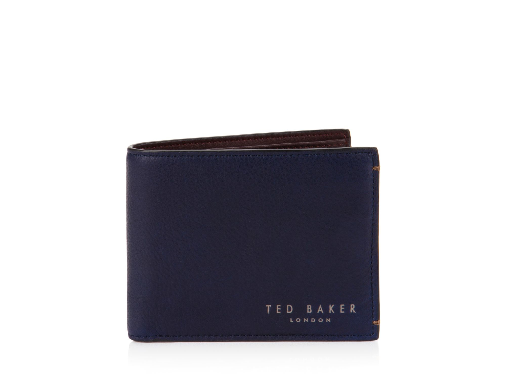 bca890a9a Lyst Ted Baker Lock Color Block Leather Bi Fold Wallet In Blue