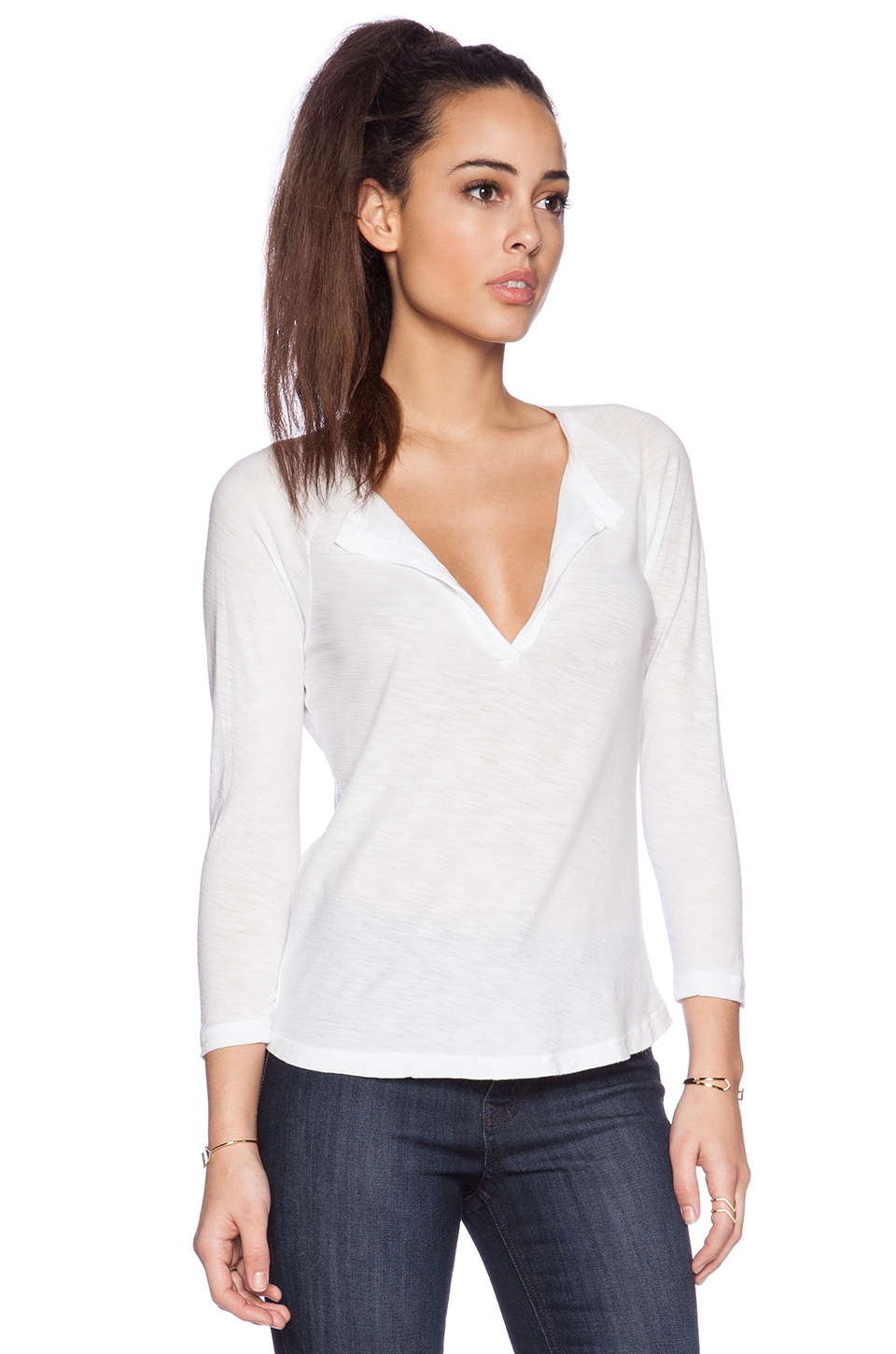 Lyst james perse raglan open henley tee in white for James perse henley shirt