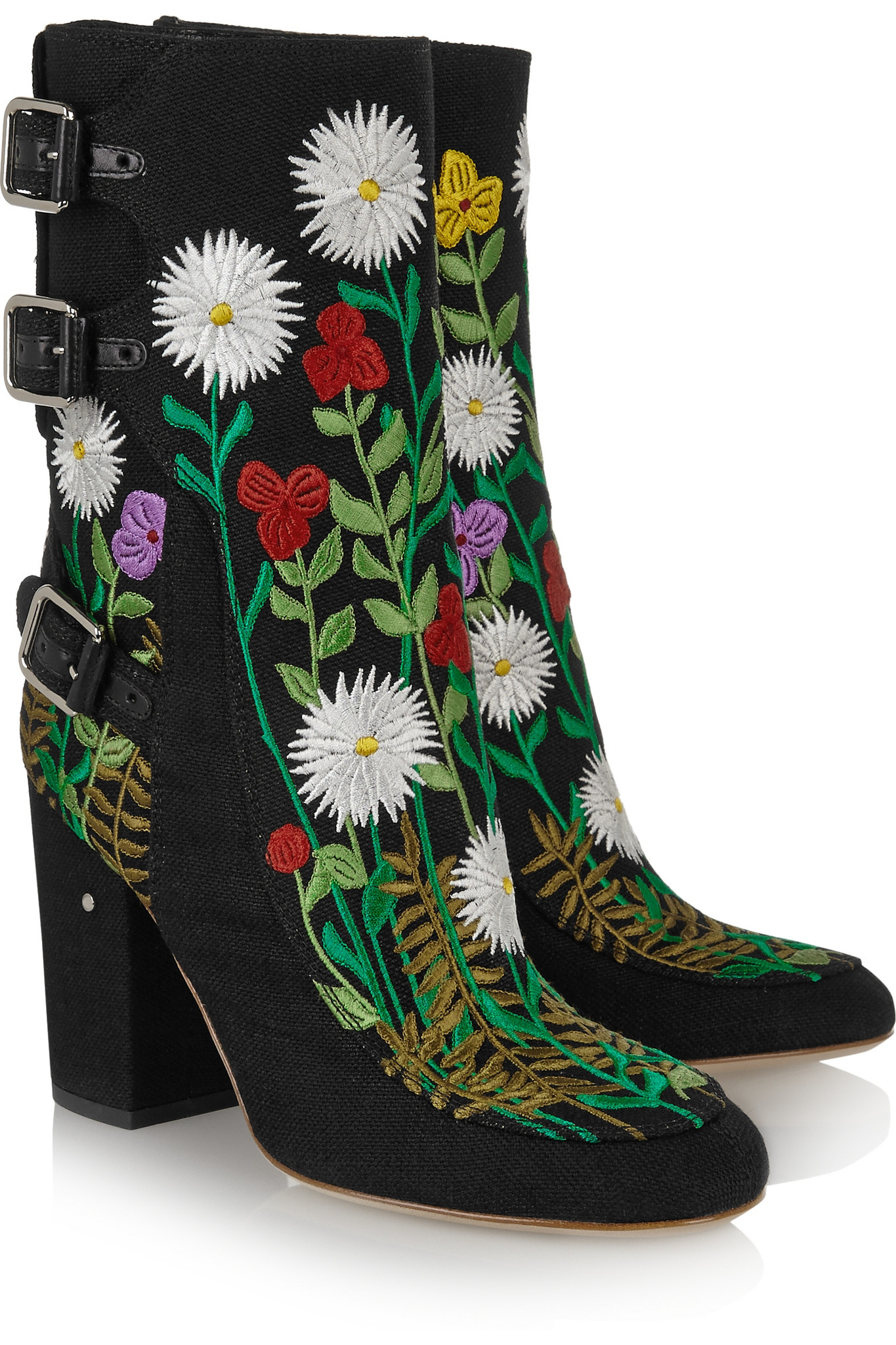 laurence dacade merli floral-embroidered canvas ankle boots in black