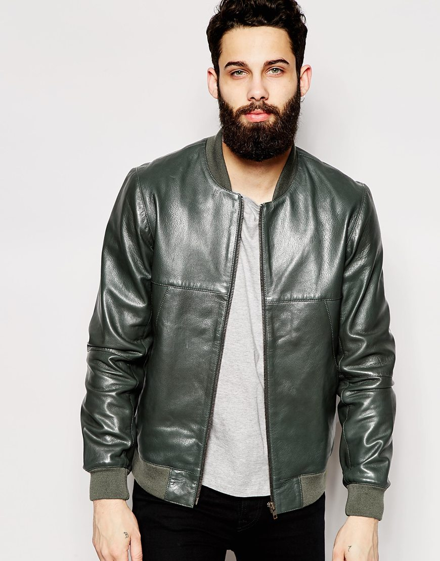 8759c7be6 ASOS Green Leather Bomber Jacket for men