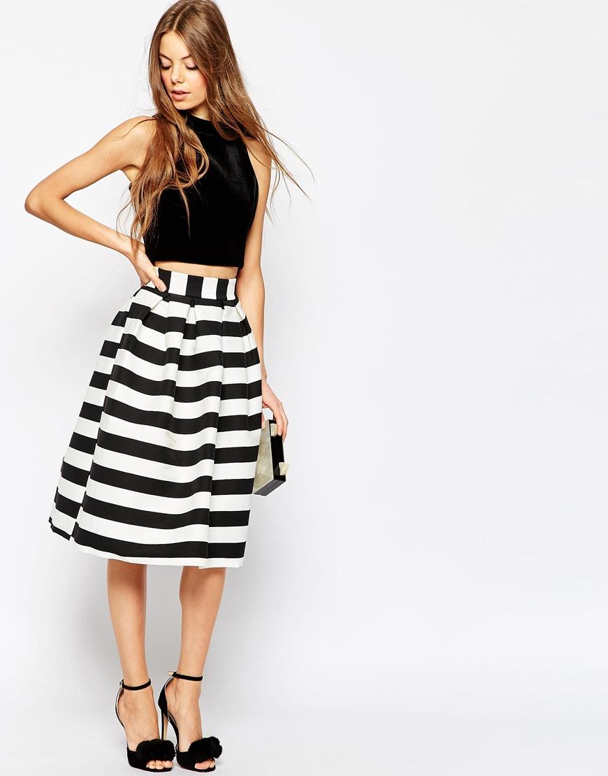 asos midi prom skirt in stripe multi in white lyst
