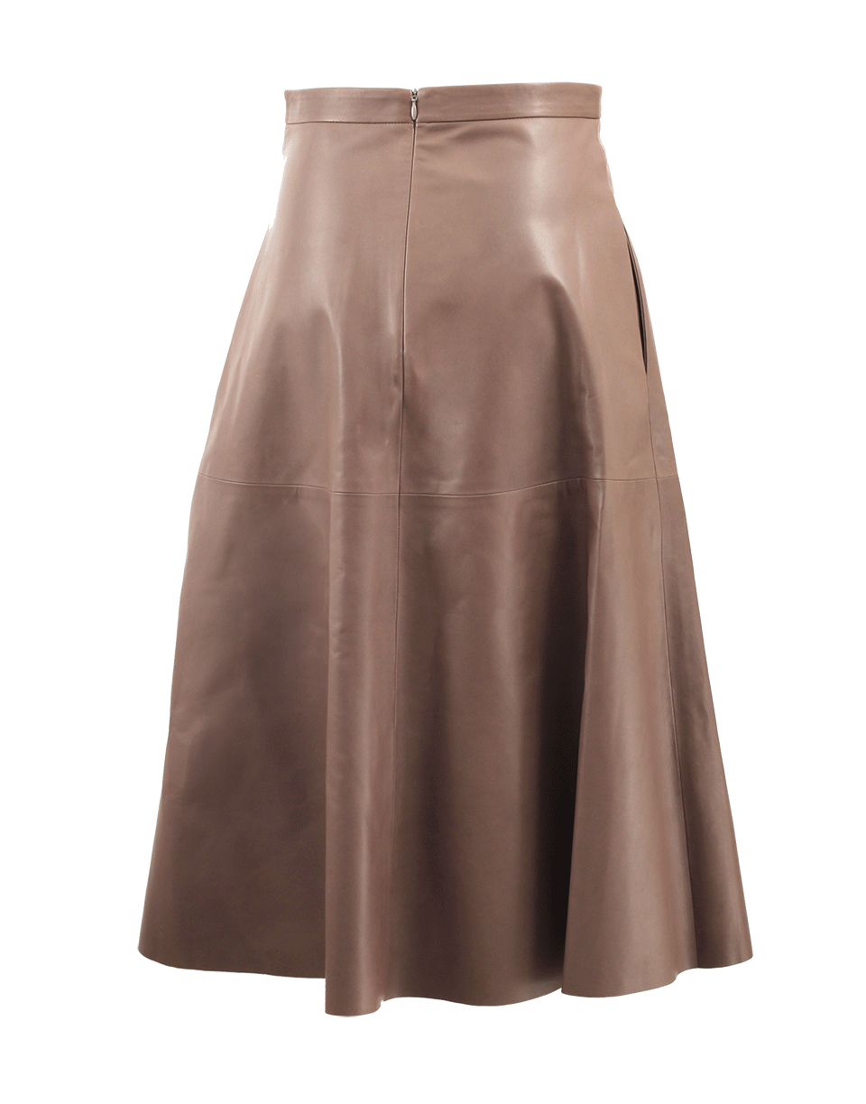 valentino leather flare skirt in brown noisette lyst