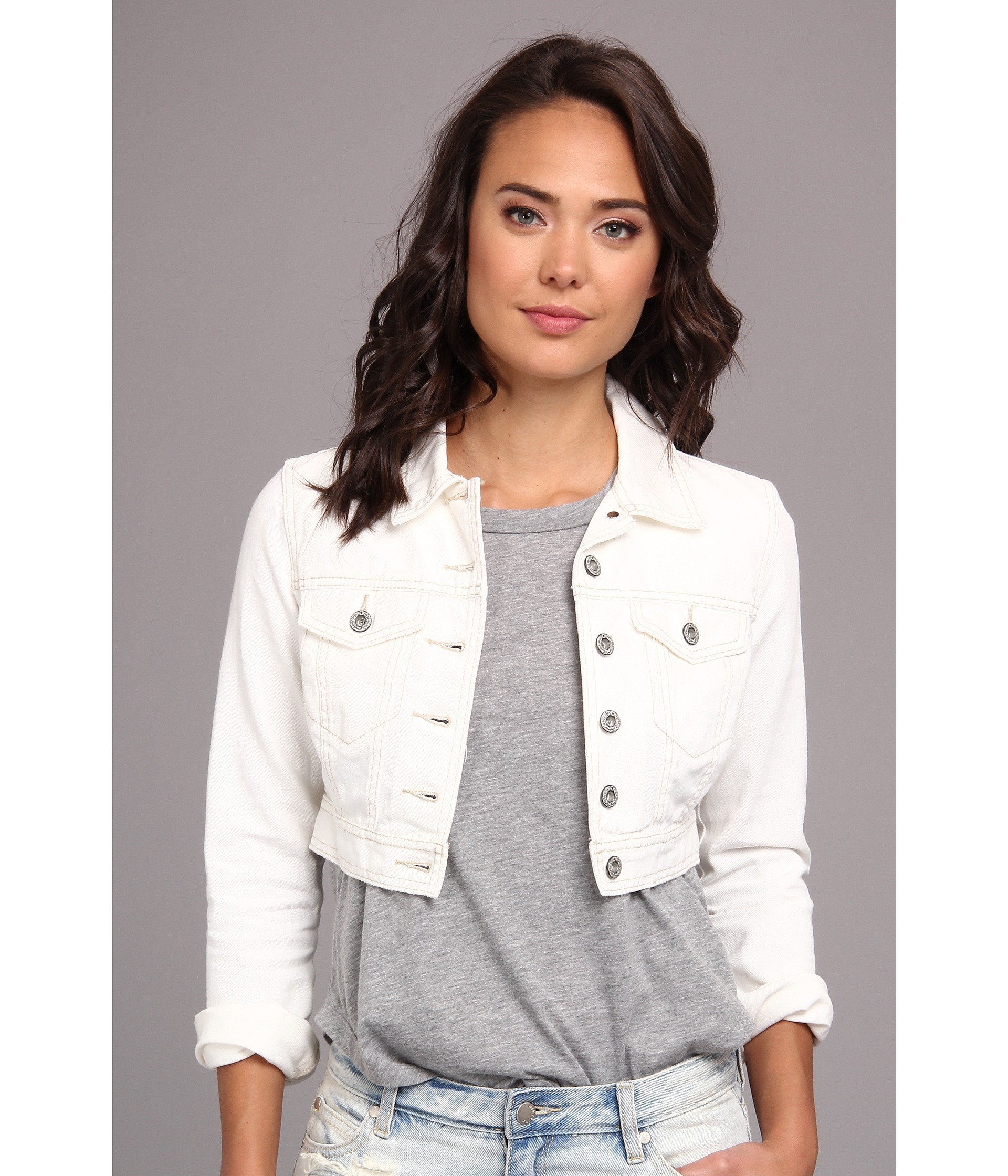 Lyst - Free people Crop Denim Jacket in White