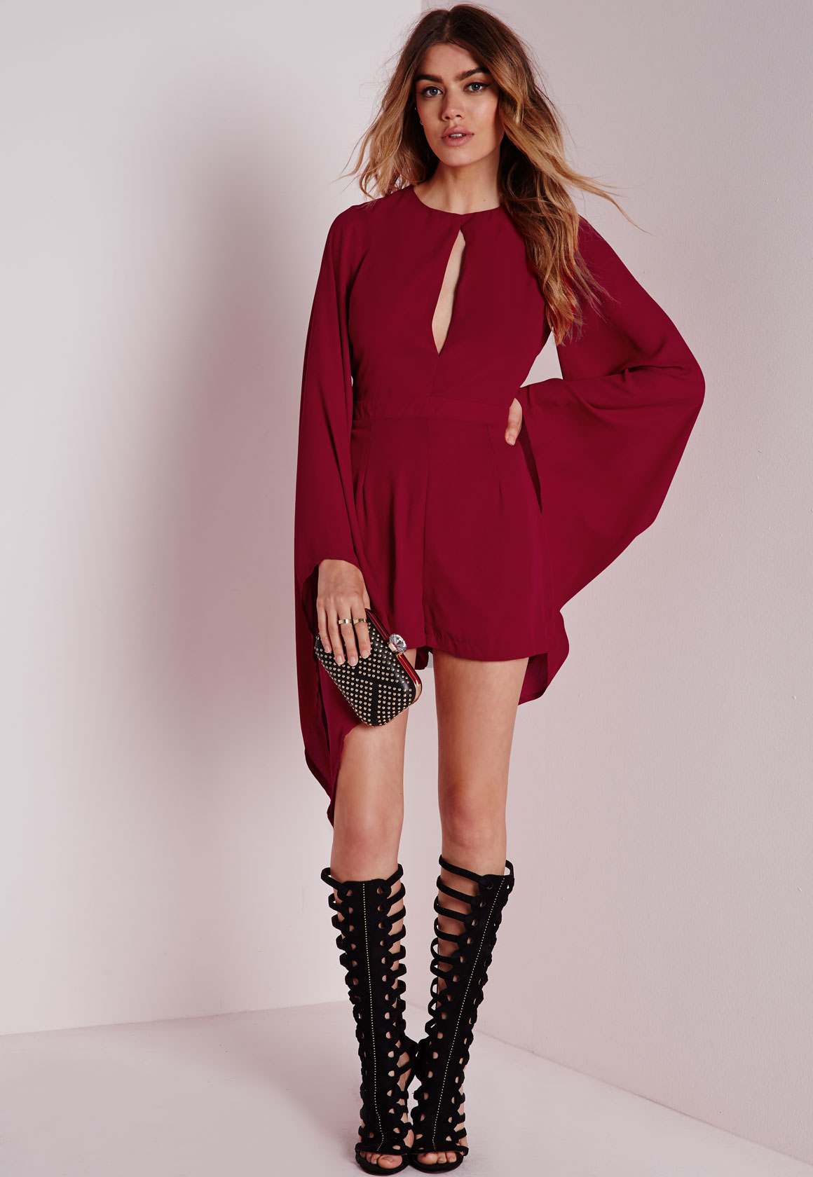 dee770ac8d Lyst - Missguided Cape Sleeve Playsuit Burgundy in Red