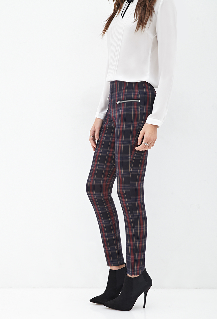 Forever 21 Zippered Tartan Plaid Pants In Blue Lyst