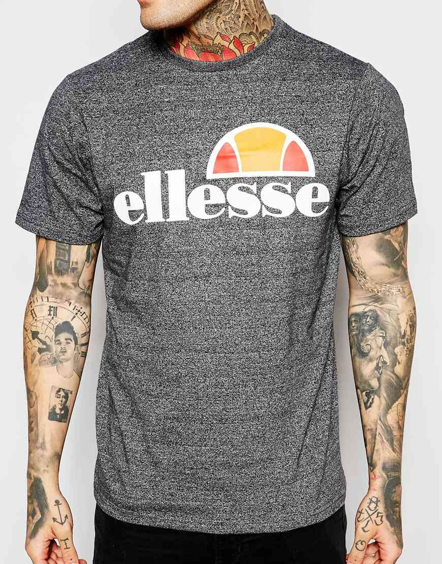 lyst ellesse t shirt with classic logo in gray for men. Black Bedroom Furniture Sets. Home Design Ideas