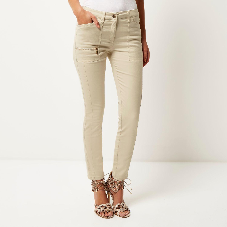 lyst river island beige twill zip skinny pants. Black Bedroom Furniture Sets. Home Design Ideas