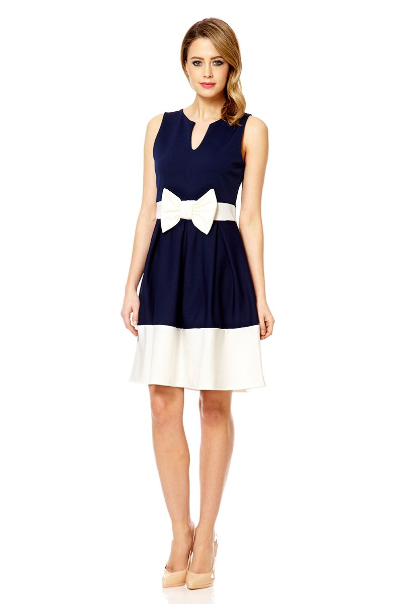 Quiz Navy Bow Panel Skater Dress In Blue Lyst