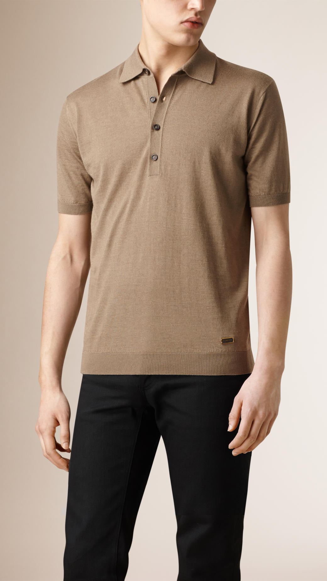 Burberry Knitted Silk Cashmere Polo Shirt In Gray For Men