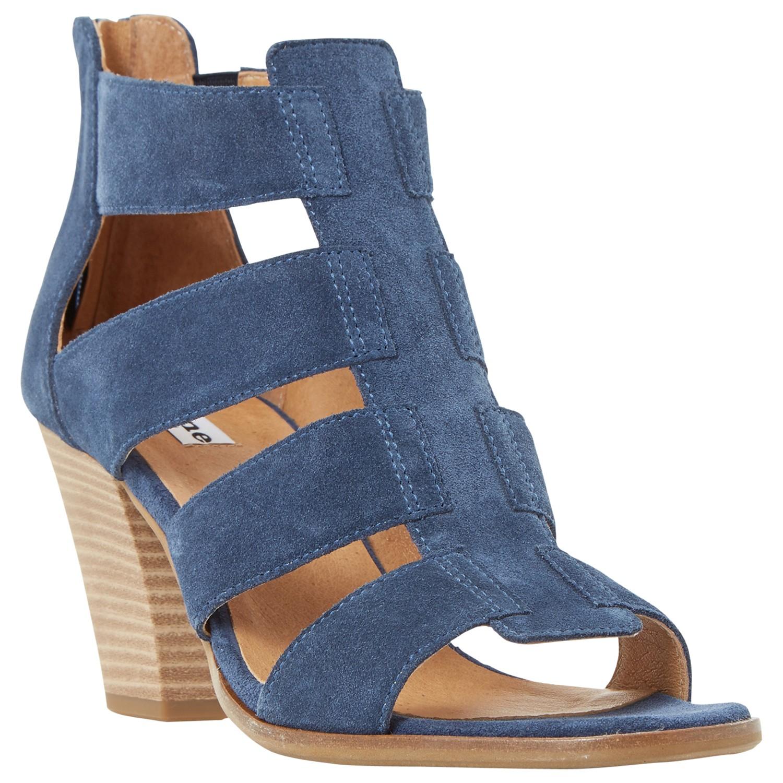 Dune Jinnie Block Heeled Multi Strap Sandals In Blue Lyst