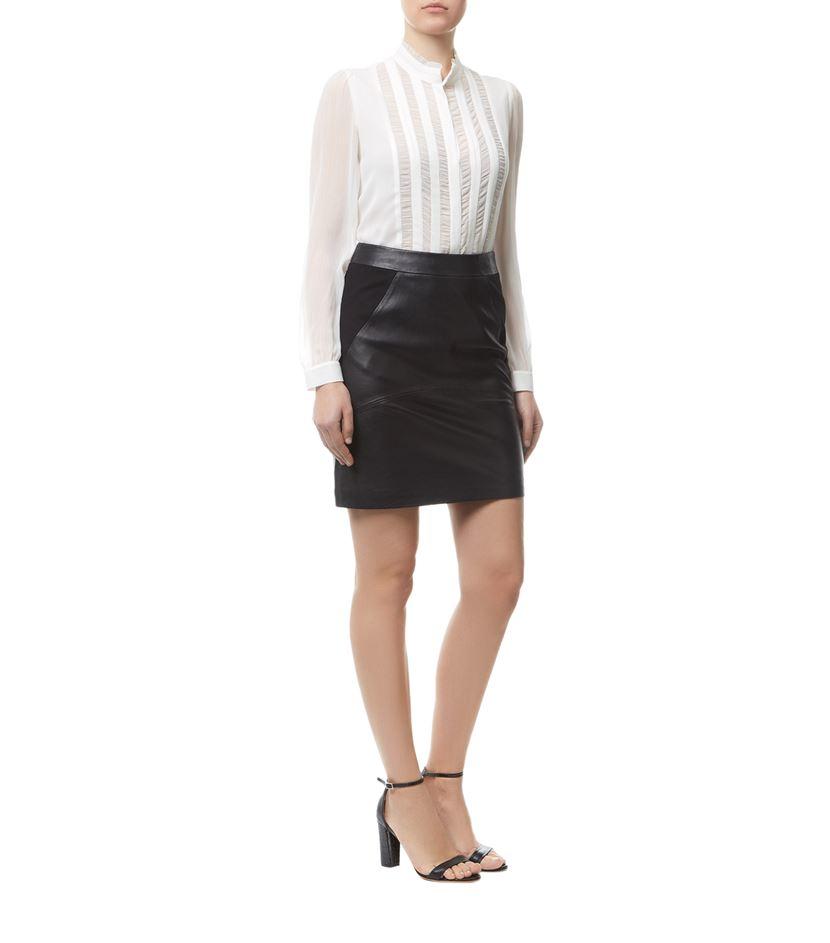 reiss clarisse leather ponte skirt in black lyst