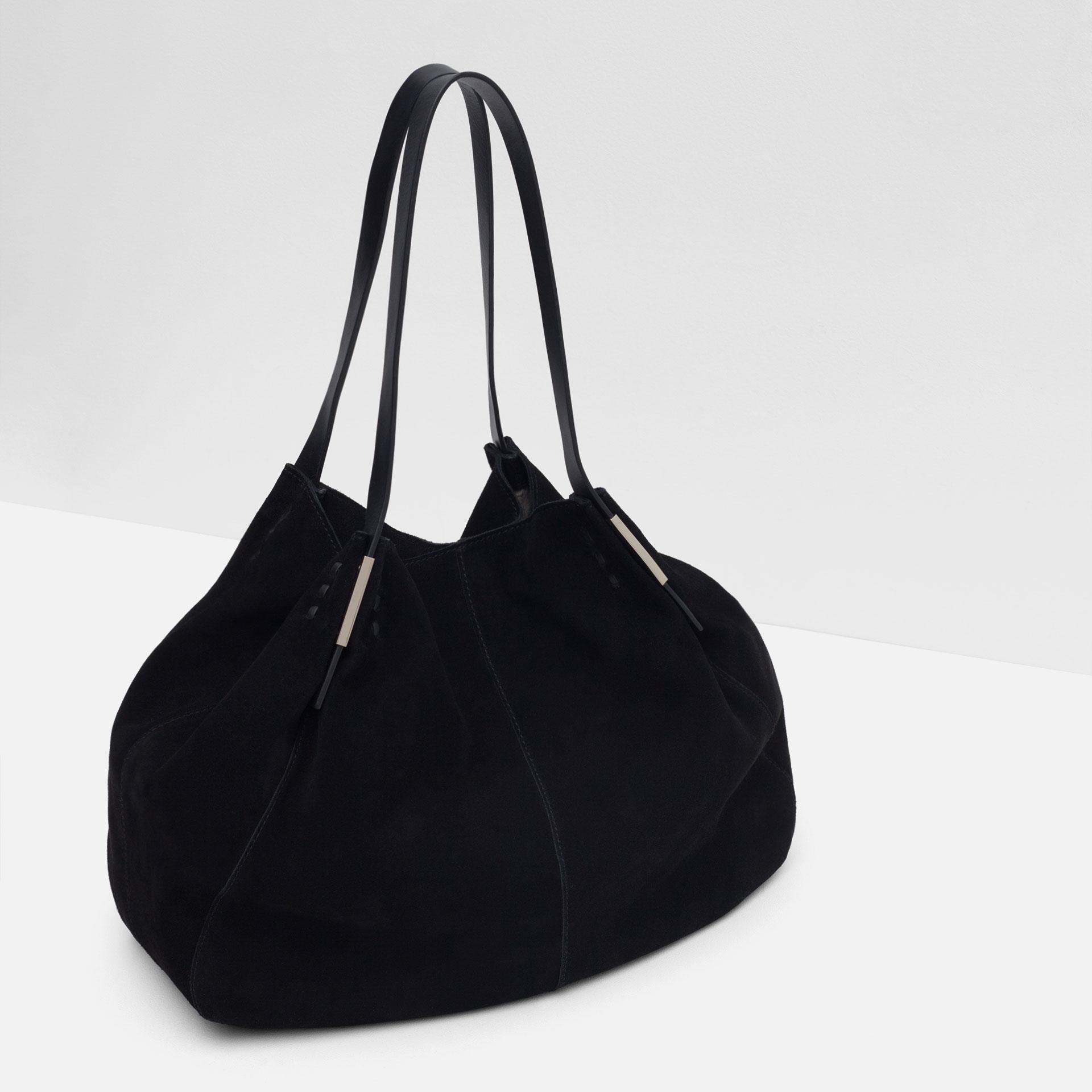 Black Suede Handbag Mc Luge
