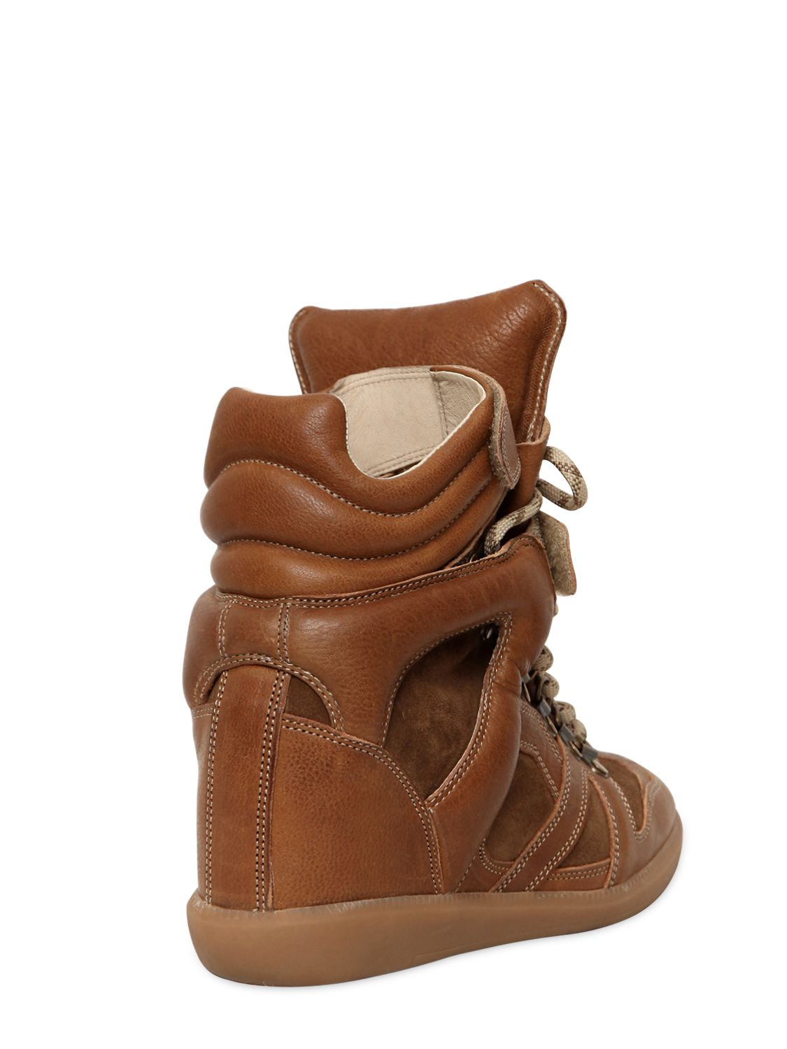 Isabel Marant Leather 'Buck' Sneakers in Brown