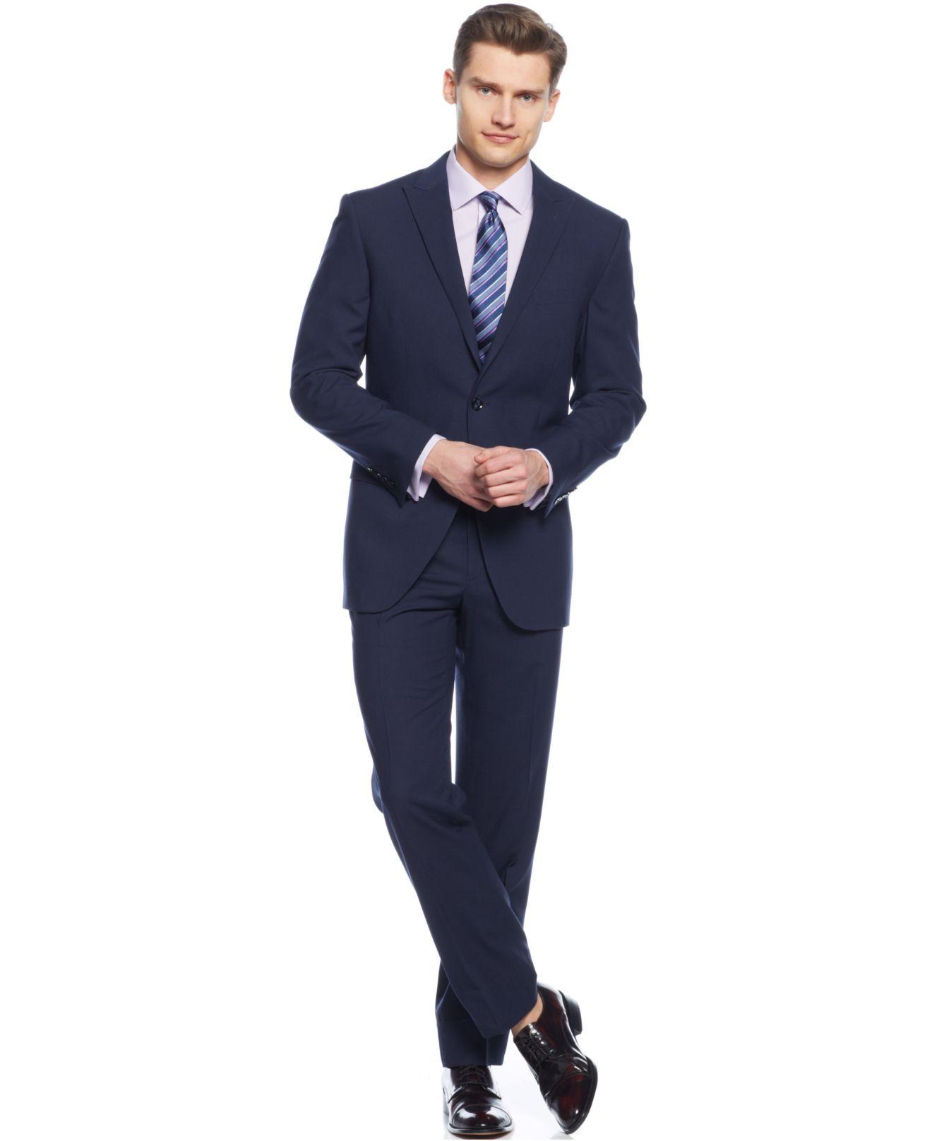 Perry ellis Medium Blue Peak Lapel Slim-fit Suit in Blue for Men