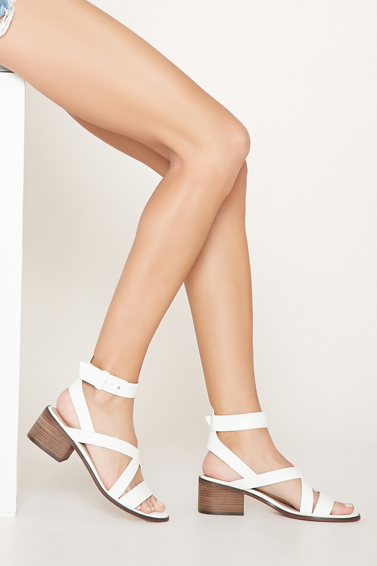 Forever 21 Block Heel Sandals In White Lyst