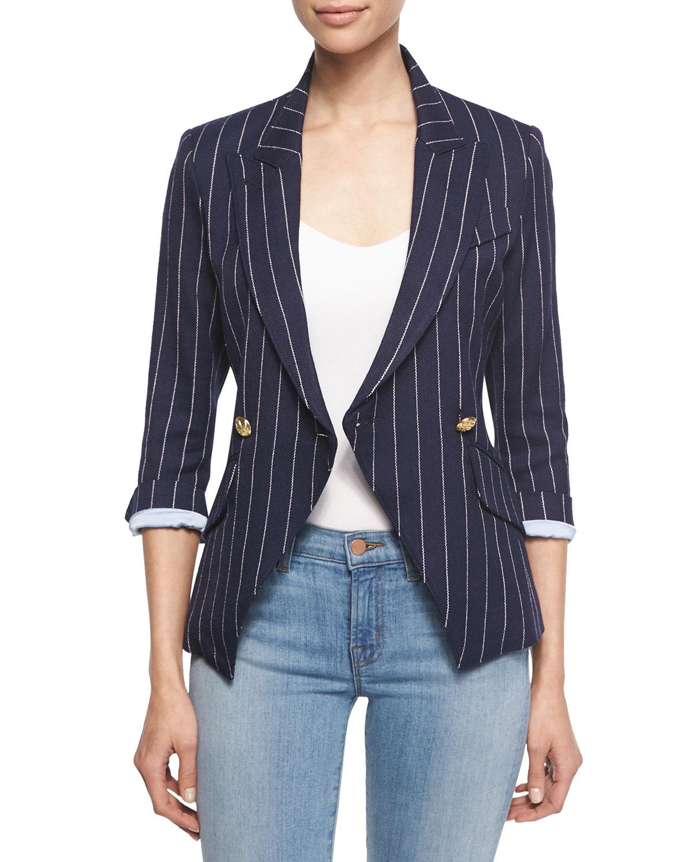 Smythe pinstripe twill blazer in blue navy pinstripe lyst for Smythe designer