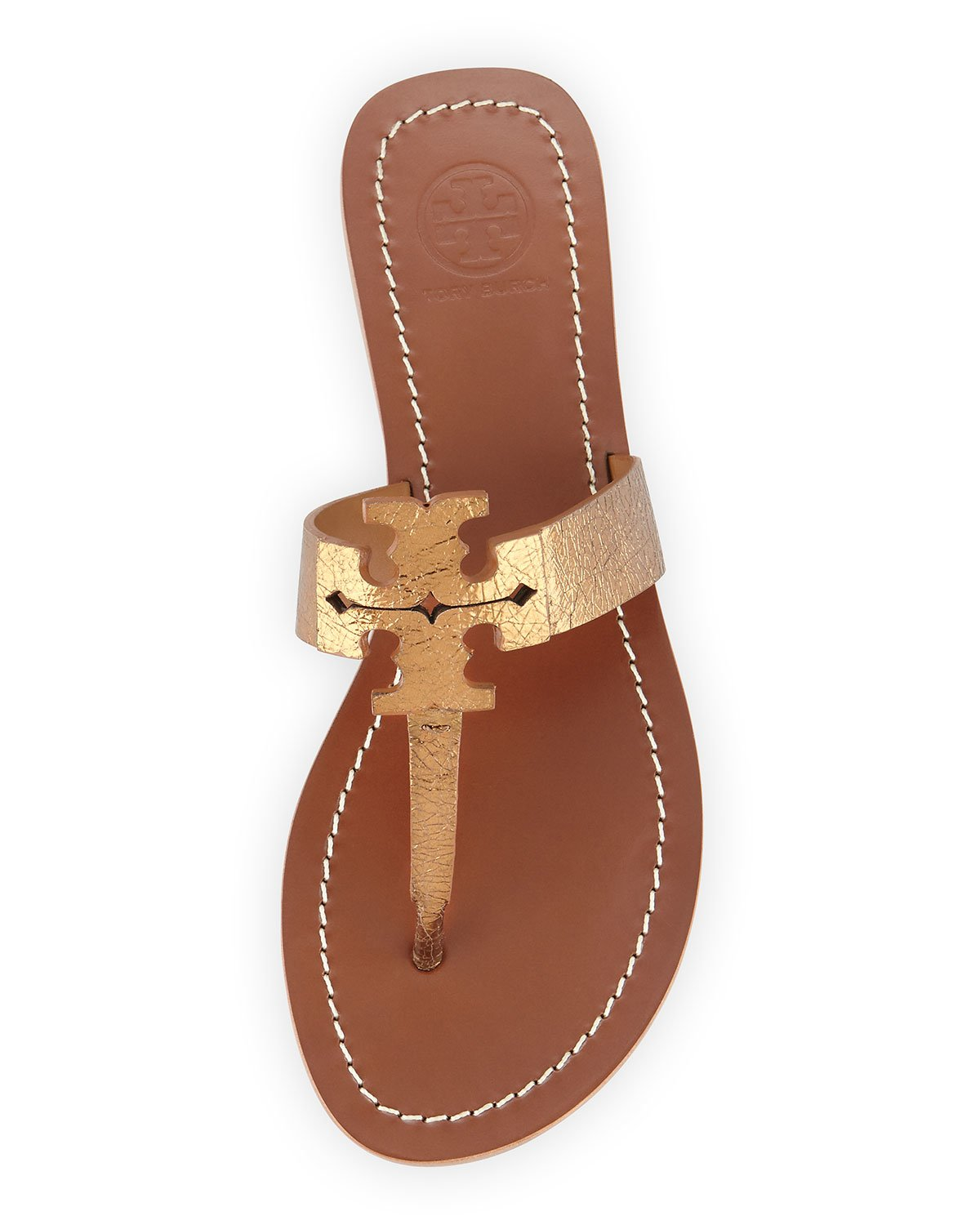 6d8ce11a7 Lyst - Tory Burch Moore Metallic Leather Sandal in Brown