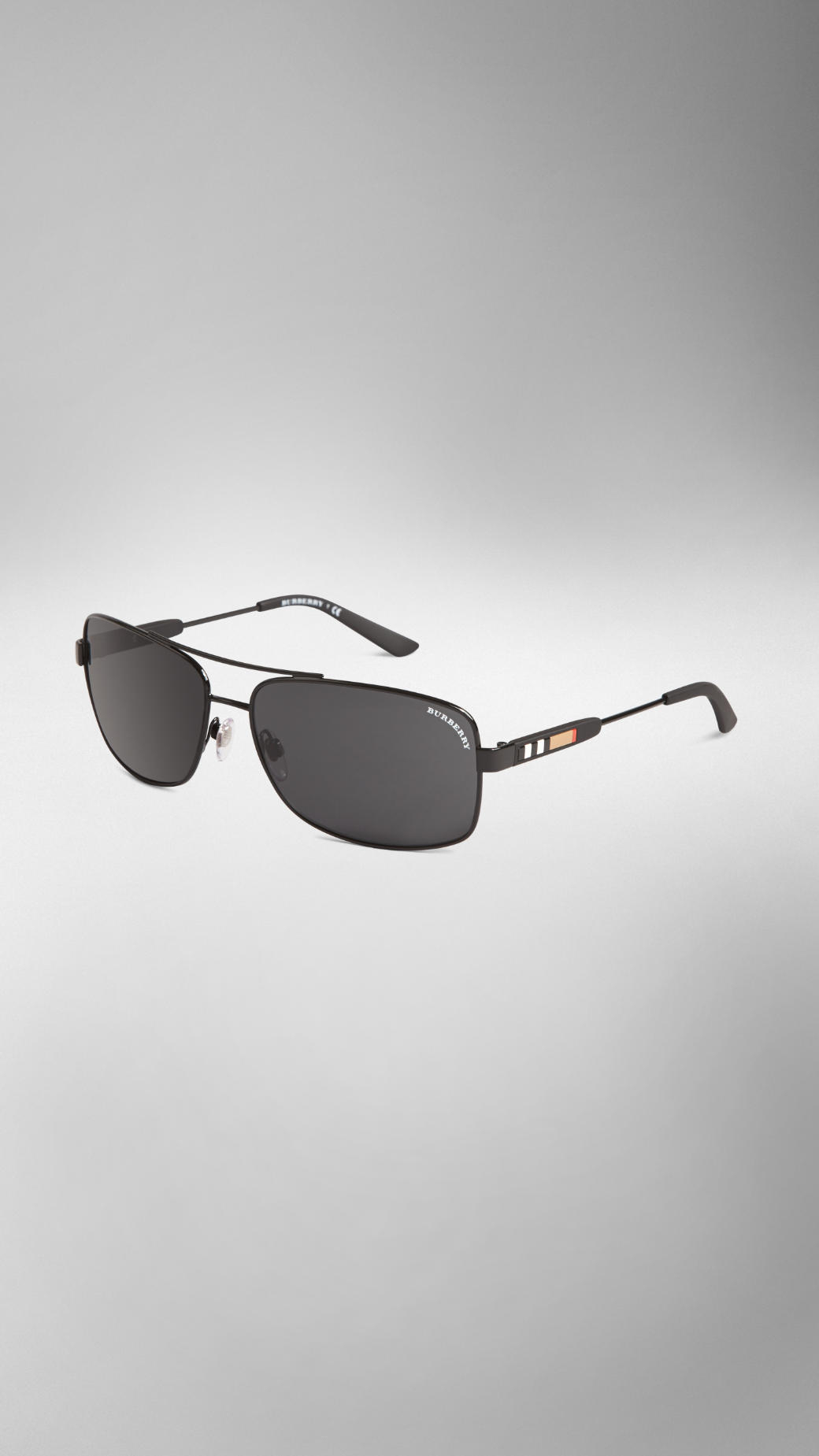 1bc8c24d0dd Lyst - Burberry Check Detail Metal Square Frame Sunglasses in Black ...